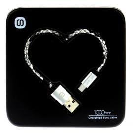 Datový kabel Micro USB Heart Box (Bílo-černý)
