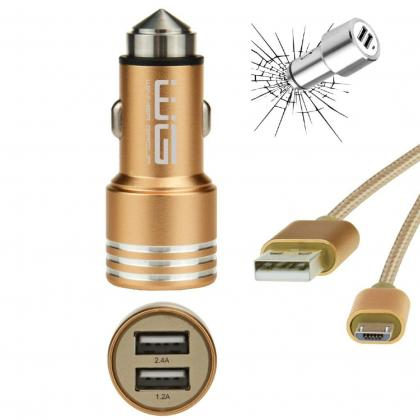 DUAL USB Charger 2,4A + MICRO-USB Cable (Zlatá)
