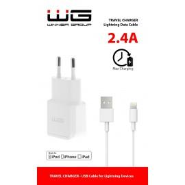 Síťová nabíječka MFI 1x USB (2,4A)+datový kabel originál MFI/white