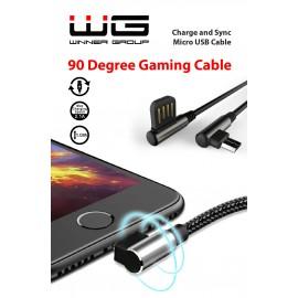 Datový kabel 90 stupňů zahnutý s Micro USB/1m/black