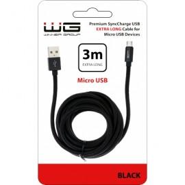 Datový kabel Micro USB 3m nylon braided (Černý)