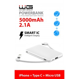 Powerbank 5000 mAh Micro+Type C cable (iPhone adaptér) (Bílá)