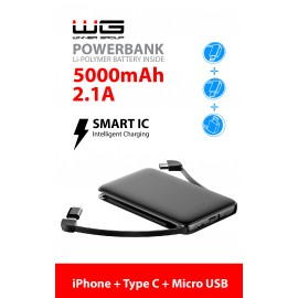 Powerbank 5000 mAh Micro+Type C cable (iPhone adaptér) (Černá)