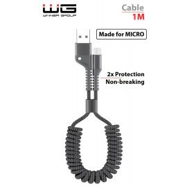 Datový kabel kroucený Micro USB 1m nylon braided (Černý)
