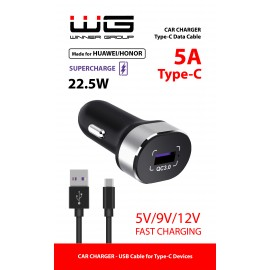 Autonabíječka Fast 1xUSB-SuperCharge (22,5W)/5V-9V-12V- Type C cable