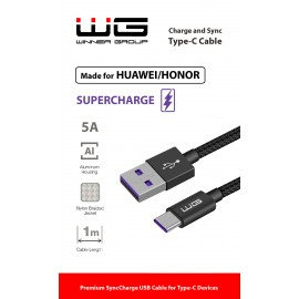 Datový kabel SUPER CHARGE Type C USB-5A 1m nylon braided