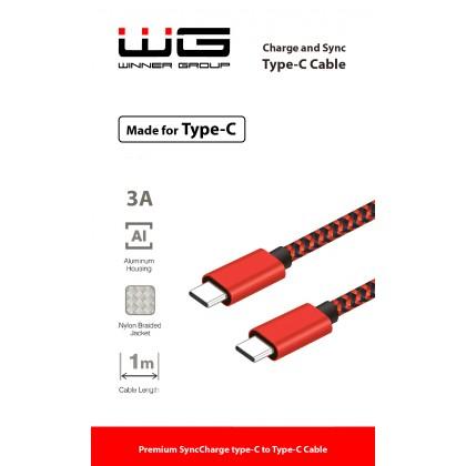 Datový kabel Type C-Type C-1m nylon braided-3A (Červený)