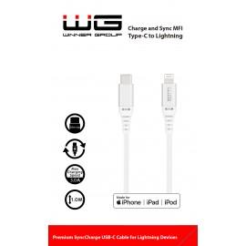 Datový kabel MFI/Type C-Lightning/1m (Bíly)