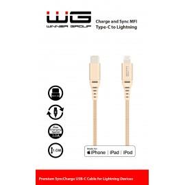 Datový kabel MFI/Type C-Lightning/1m (Zlatý)