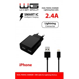 DUAL USB Charger 2,4A + MFI APPLE Cable