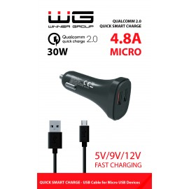 DUAL USB Qualcomm Fast Charger 2,4A + MICRO-USB Cable