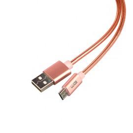 Datový kabel Micro USB, 1M, metallic (Růžový)