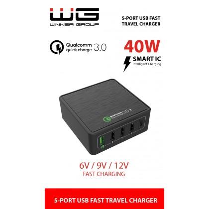 Síťová nabíječka 5x USB (QC 3.0+3xUSB with Smart IC+type C slot)