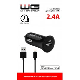 Ładowarka MFI 1x USB (2,4A)+ dat. Kabel MFI/black oryginalna