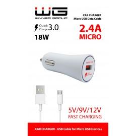 Ładowarka samochodowa USB (2,4A) + kabel Micro USB /white, 1289223