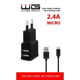 Síťová nabíječka, 2xUSB (2.4A) + cable Micro-USB (Černá)