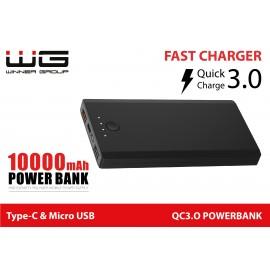 Powerbanka 10000mAh QC 3.0 Fast Charging (Černá)