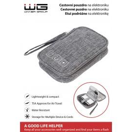 Cestovní pouzdro na elektroniku 2 -12,5x18,5x3,5cm (Šedé)
