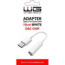 Adaptér Type C + 3,5mm jack-DAC chip (Bílý)